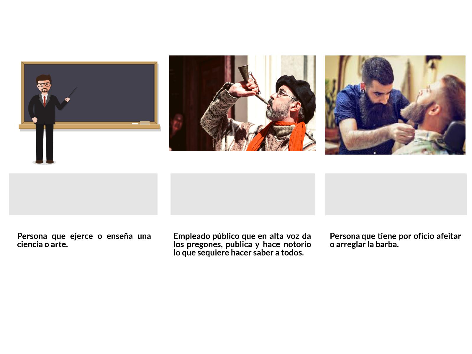 ejercicio vocabulario oficios